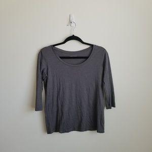 Eileen Fisher Gray Silk and Cotton Tee Shirt